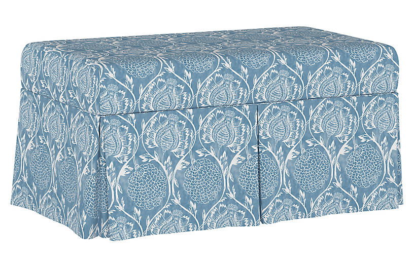 Hayworth Storage Bench, Floral French Blue