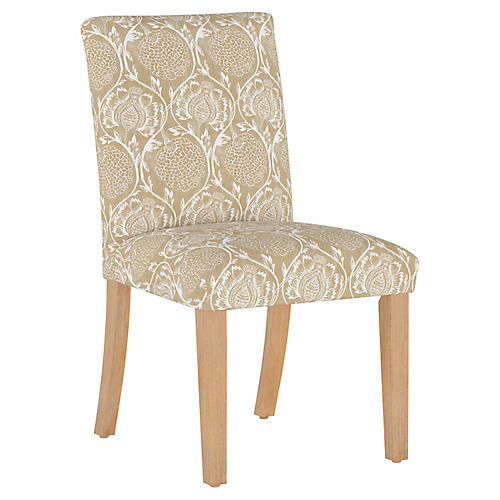 Shannon Side Chair, Floral Flax