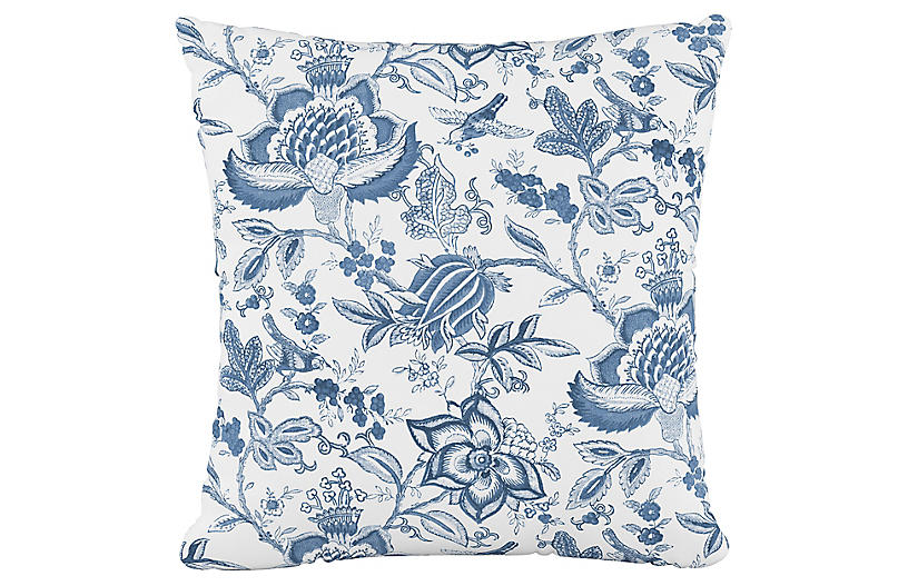 Praire Cotton Pillow, Floral Blue