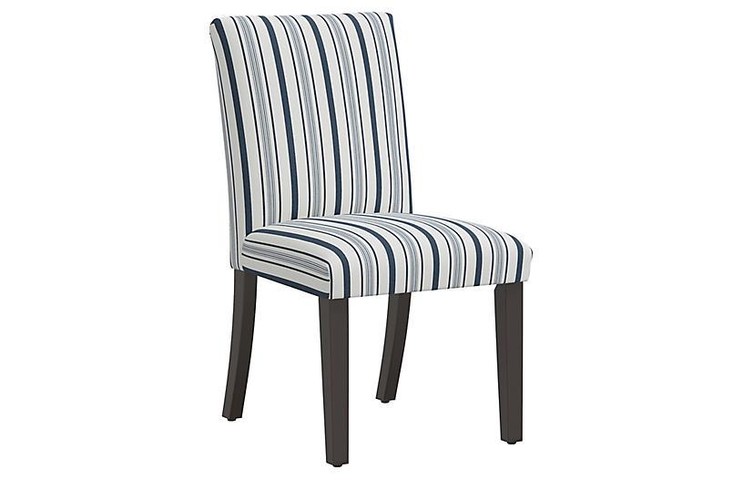 Shannon Side Chair, Finn Stripe Navy