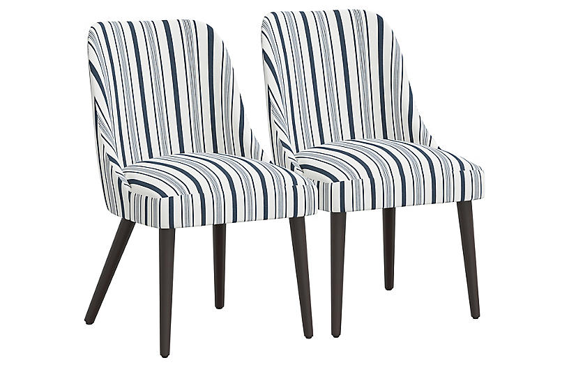 S/2 Barron Side Chairs, Finn Stripe Navy