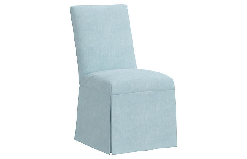 Owen Slipcover Side Chair, Light Blue