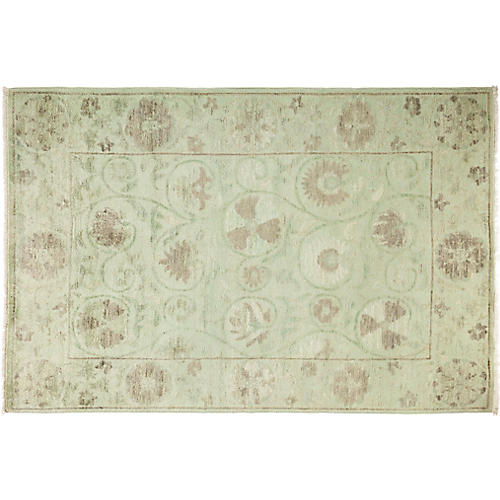 "4'1""x6' Suzani Rug, Mint/Tan"