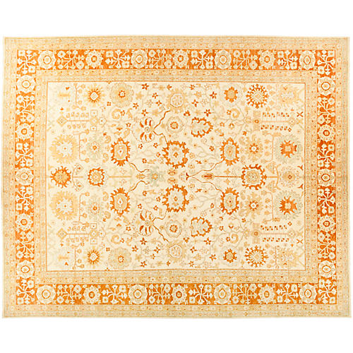 "12'2""x14'10"" Oushak Rug, Wheat/Honey"