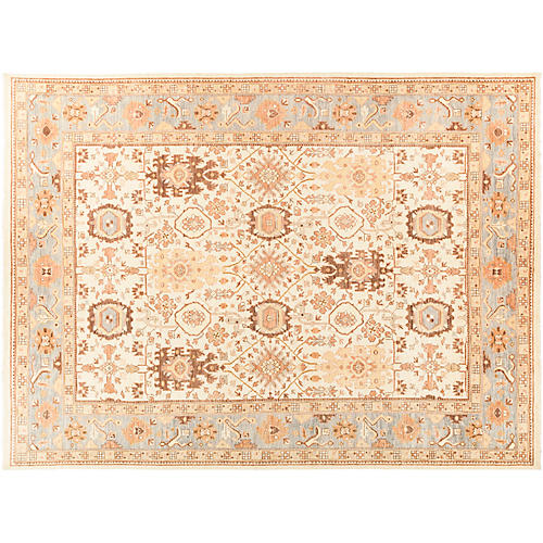 "10'2""x13'8"" Oushak Rug, Tan/Multi"