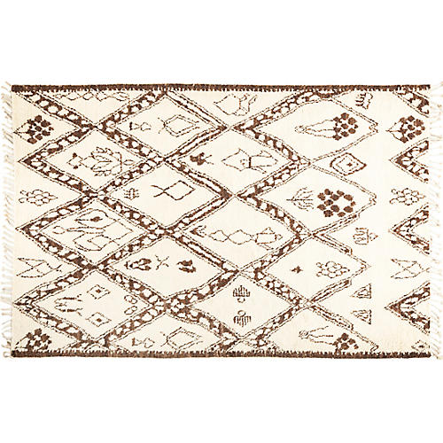 6'x9' Rabat Rug, Ivory/Brown