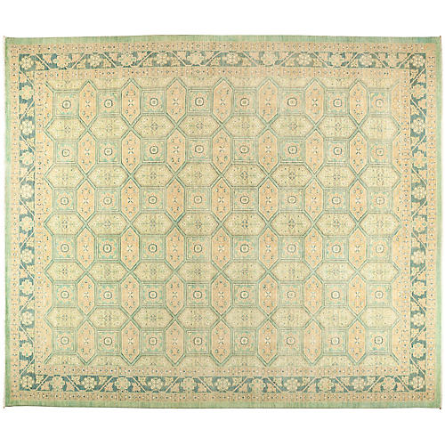 """12'2""""x14'8"""" Eclectic Rug, Mint/Multi"""