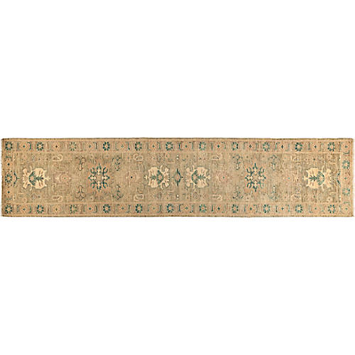 """2'7""""x12' Eclectic Runner, Taupe/Green"""
