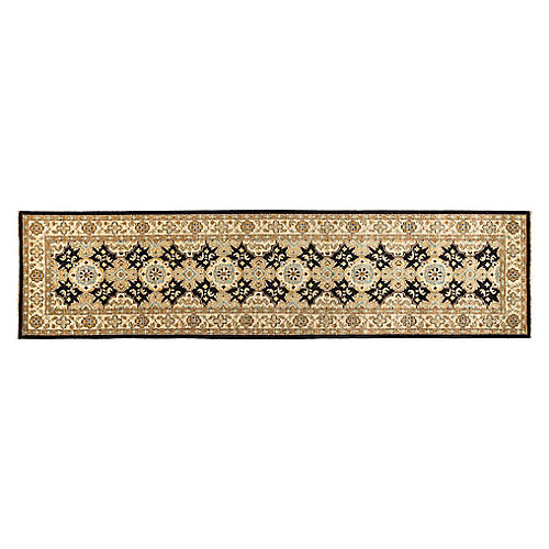 """2'7""""x11'7"""" Agata Hand-Knotted Runner, Onyx/Sand"""
