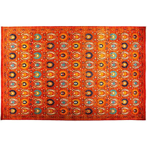 """12'1""""x19' Suzani Rug, Orange"""