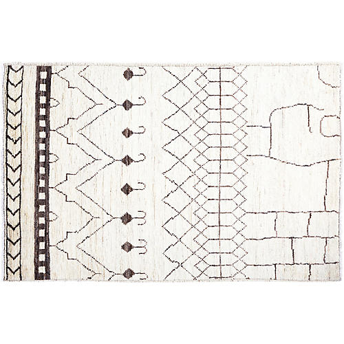 "3'3""x5' Logan Moroccan Rug, Ivory"