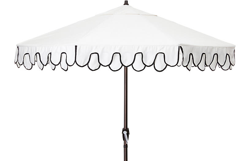 Phoebe Double Scallop Patio Umbrella, Black/White