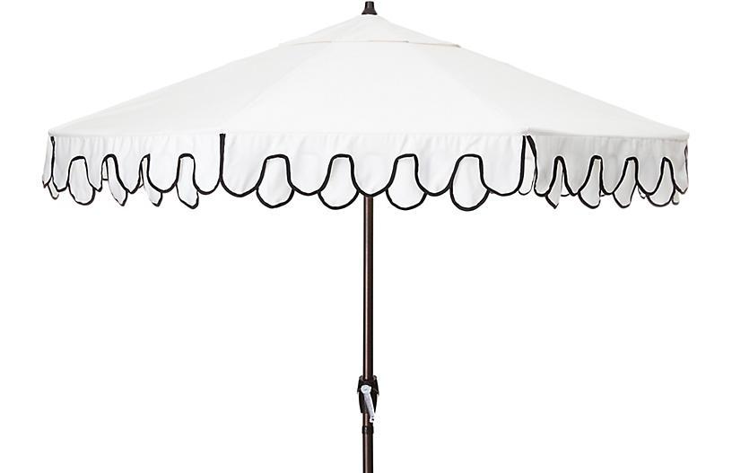 Phoebe Double Scallop Patio Umbrella, Black/White