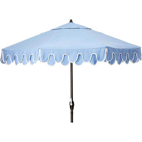 Phoebe Double Scallop Patio Umbrella, Air Blue/Natural