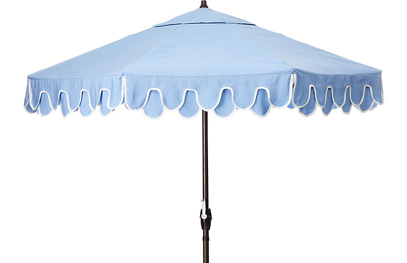Phoebe Scallop Patio Umbrella, Air Blue/Natural