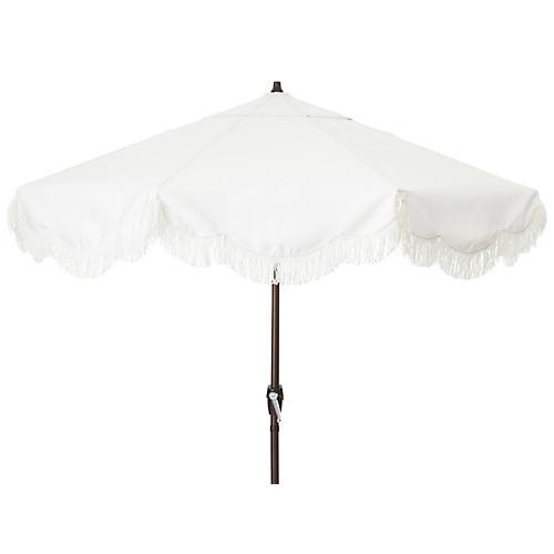 Cloud Fringe Patio Umbrella, White