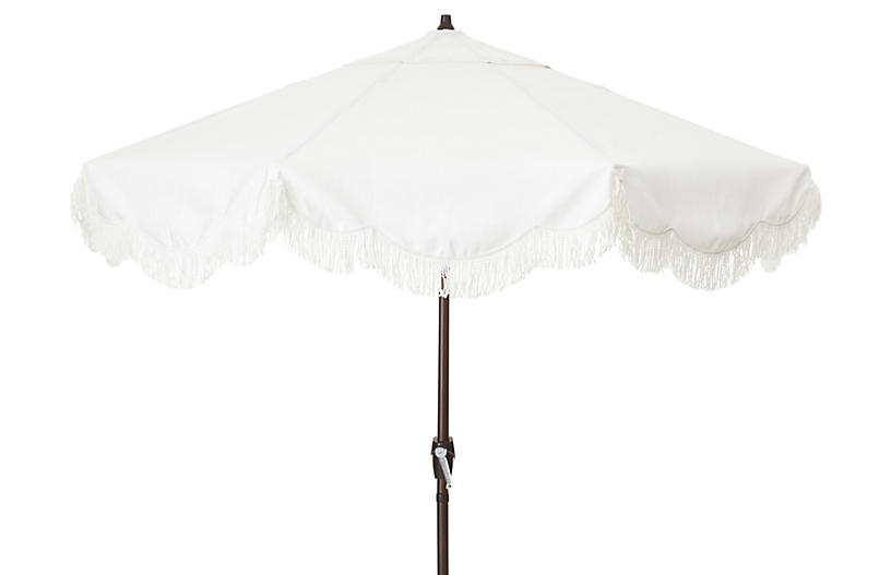 Cloud Fringe Patio Umbrella, White Sunbrella