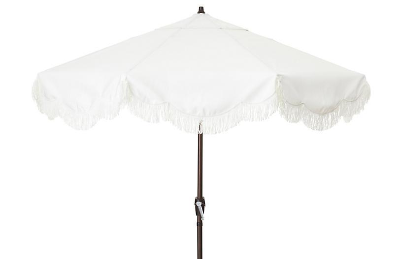 Cloud Fringe Patio Umbrella, White Sunbrella