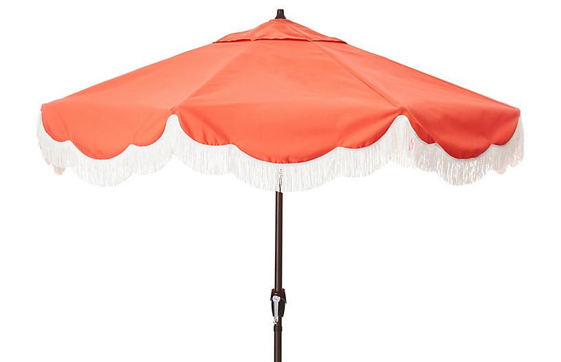 Cloud Fringe Patio Umbrella, Melon Sunbrella