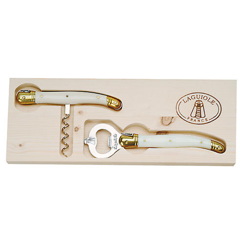 2-Pc Unic Corkscrew & Bottle Opener, Ivory/Gold