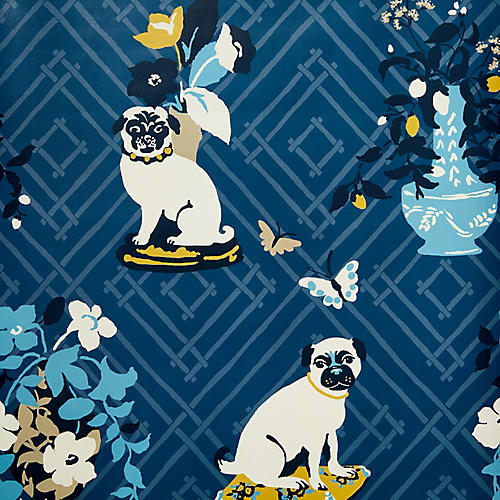 Manor Born Madcap Cottage Wallpaper, Ocean