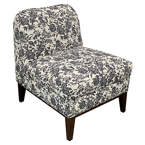 Eleanor Slipper Chair, Onyx Toile