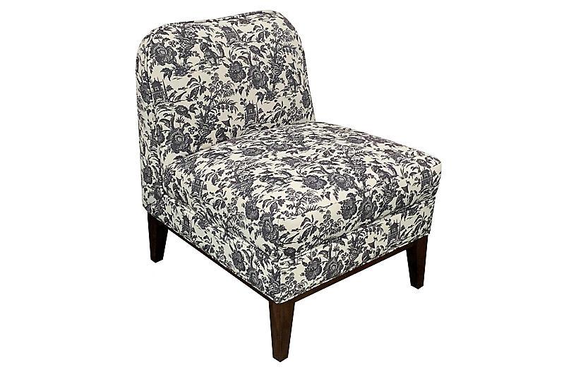 Eleanor Slipper Chair, Onyx Toile