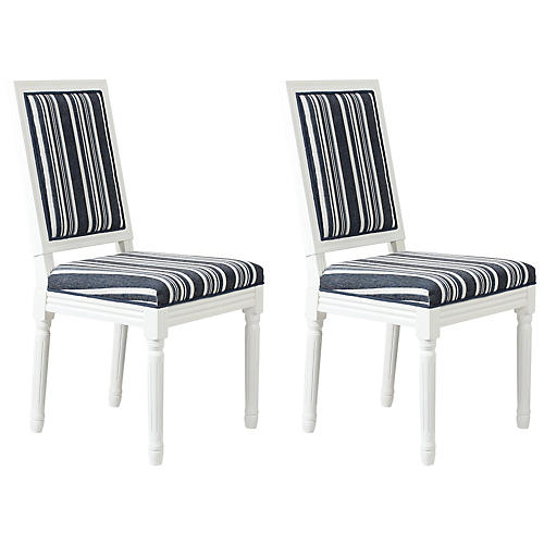 S/2 Calais Side Chairs, Blue Cording Stripe