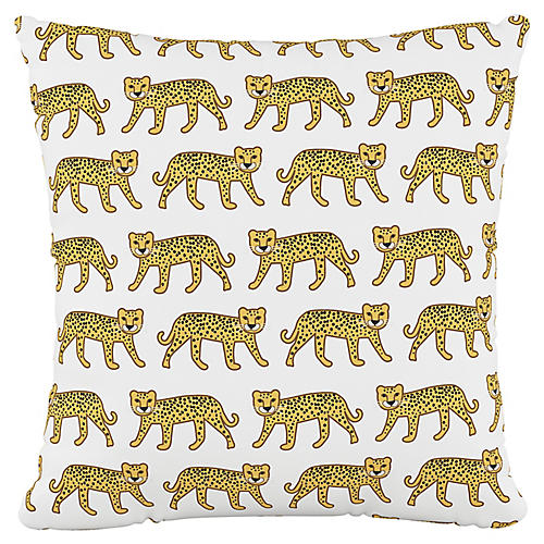 Addison 18x18 Pillow, Cheetah White