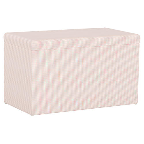 Sebastian Storage Bench, Gingham Pink