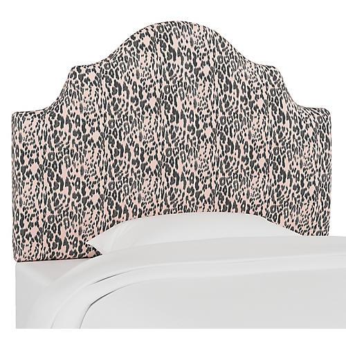 Harper Scalloped Headboard, Glam Cheetah Pink
