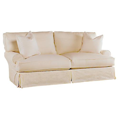 Comfy Slipcovered Sofa, Natural Linen