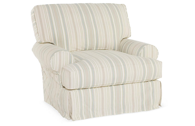 Comfy Slipcovered Club Chair, Natural Stripe