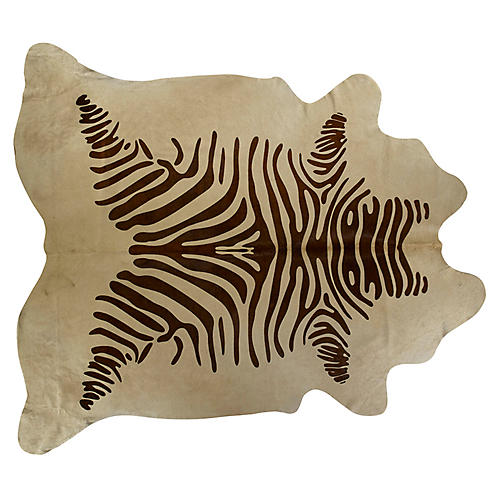 "6'x7'6"" Stenciled Hide, Brown"