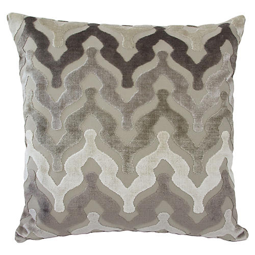 Bella 22x22 Velvet Pillow, Neutral