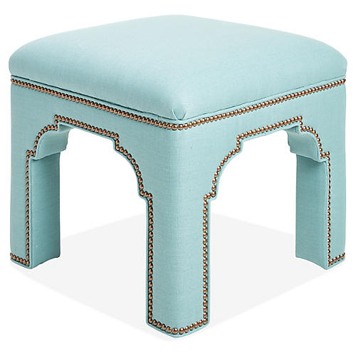 Taj Linen Stool, Blue Linen