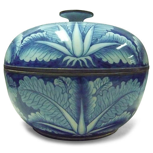 "12"" Covered Low Cabbage Bowl, Blue/White"