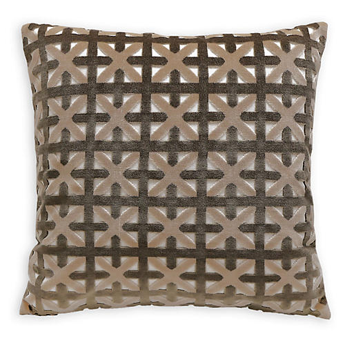 Casey 22x22 Velvet Pillow, Gray/Taupe