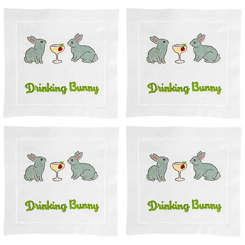 S/4 Drinking Bunny Cocktail Napkins