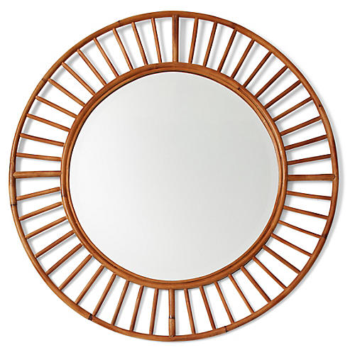 Tala Round Wall Mirror, Brown