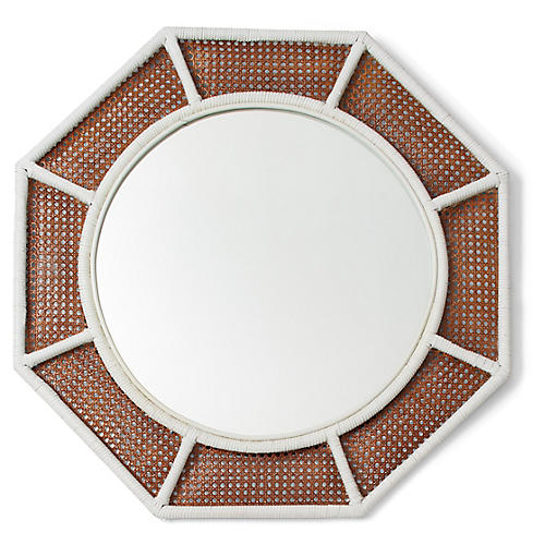 Orly Octagonal Wall Mirror, White/Natural