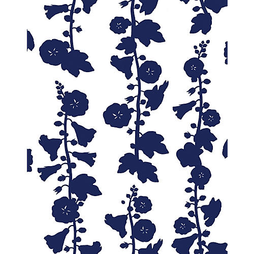 Clare V Hollyhock Wallpaper, Navy