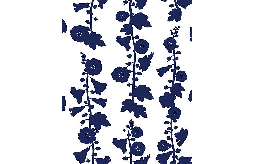 Clare V Hollyhock Wallpaper, Navy