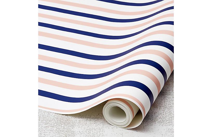 Clare V Stripes Wallpaper, Navy