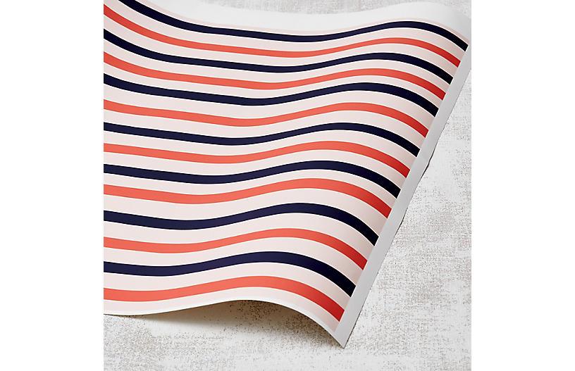 Clare V Stripes Wallpaper, Watermelon