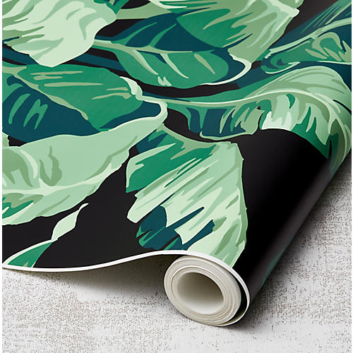 Nathan Turner Pacifico Palm Wallpaper, Onyx/Green