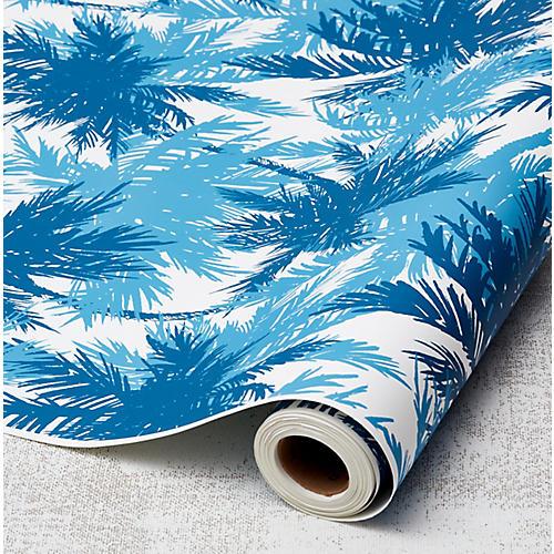 Palm Shuffle Wallpaper, Cadet Blue/Cerulean
