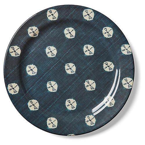 S/4 Dawn Mali Melamine Dinner Plates, Indigo/White