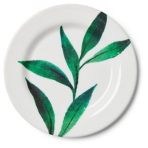 S/4 Draper Melamine Salad Plates, Green/White