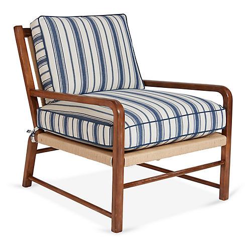 Miramar Accent Chair, Blue Stripe